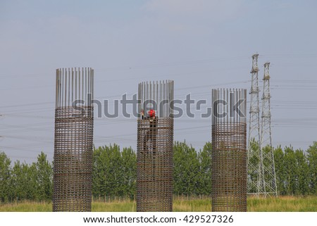 Bridge construction under performing the steel reinforcement of piling work
