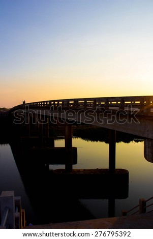 bridges,shot under dawn sky