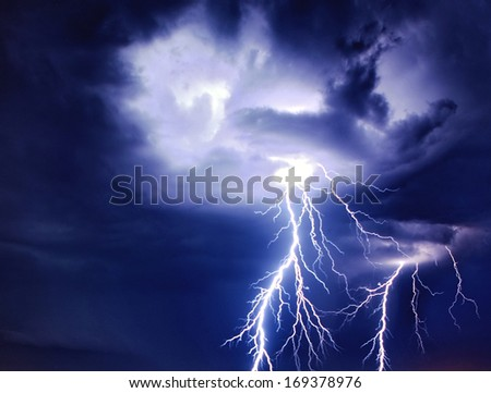 Bright lightning storm thunderstorms sparkle from the cloud dangerous rain inside terrible