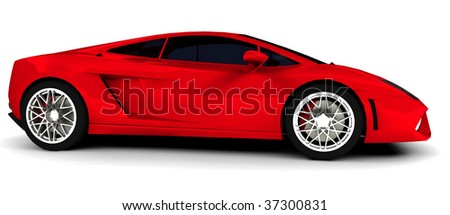 Bright red modern supercar isolated on white - stock photo