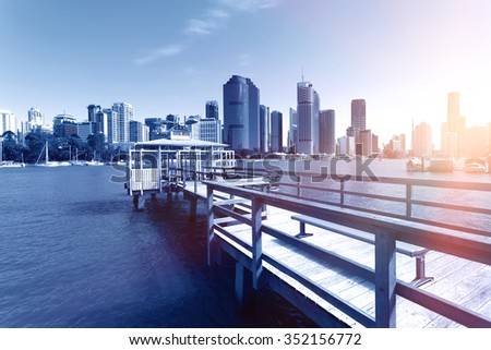 Brisbane River and city building - stock photo