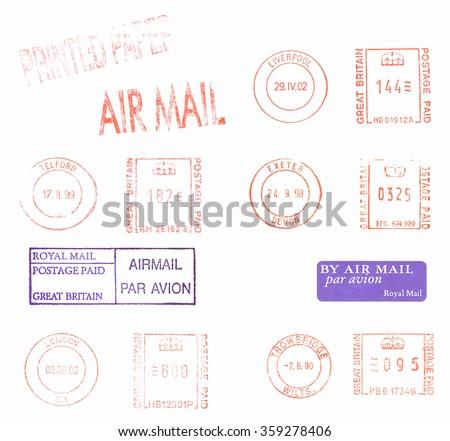 British postage meters vintage - stock photo