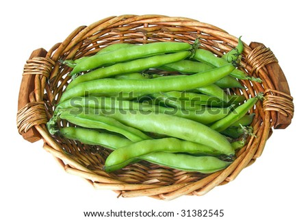 broad beans in basket - stock photo