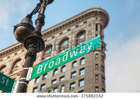 Broadway sign in New York City, USA on a sunny day - stock photo
