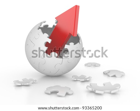broken sphere of puzzle with red arrow. leadership concept - stock photo