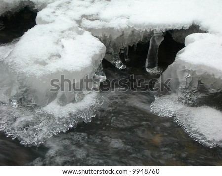 Brook is covered by ice and water flows under them with a small stream