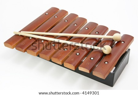 brown xylophone on white background - stock photo