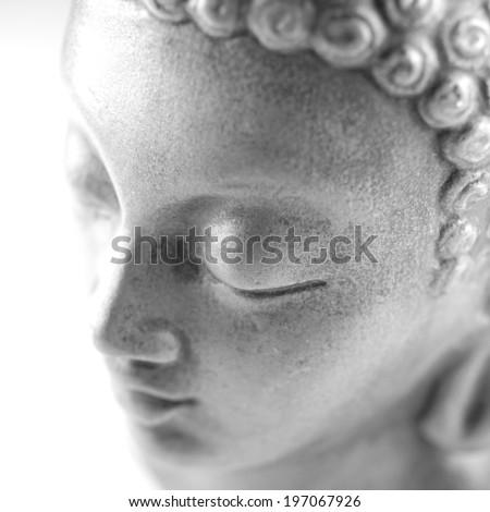 Buddha golden sculpture, isolated on white - stock photo