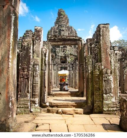 Buddha shrin in Prasat Bayon Temple in Angkor Thom, near Siem Reap, Cambodia - stock photo