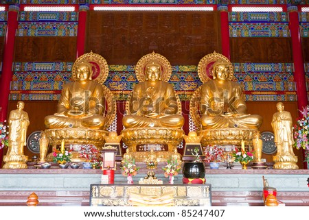3 Buddha Statue in Chinese Temple, Bangkok Thailand - stock photo