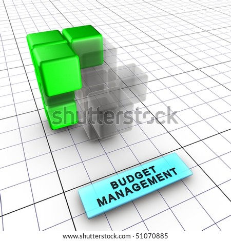 3-Budget management (3/6) Budget, quality, performance and schedule managements integrate risk management. 6 figures depict risk management process and interactions. - stock photo