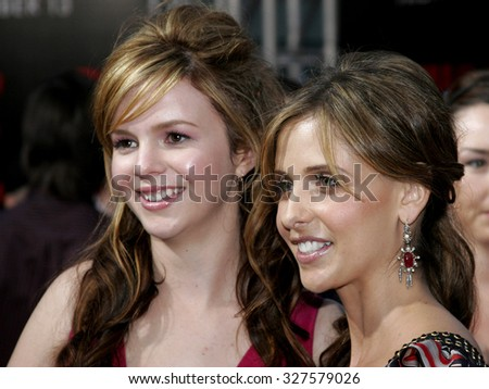 "10/08/2006 - Buena Park - Amber Tamblyn and Sarah Michelle Gellar attend the World Premiere of ""The Grudge 2"" held at the Knott's Berry Farm in Buena Park, California, United States."