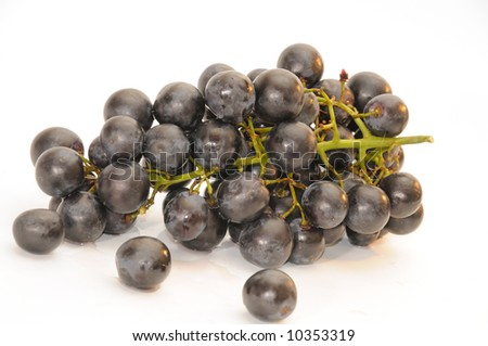 bunch of the black grapes, isolated on a white background