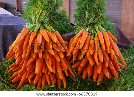2 bunches of carrots at the market - stock photo
