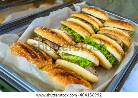 burgers in a large bowl - stock photo