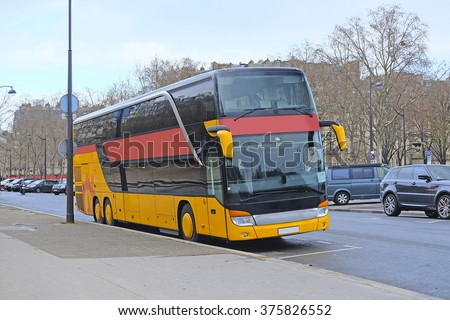 Bus on the street of Paris, France - stock photo
