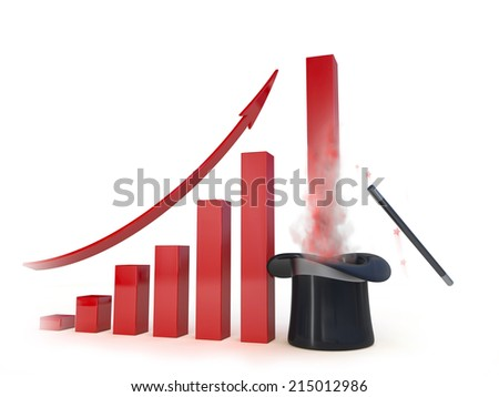 Business chart with a magic help going up. Concept 3d illustration - stock photo