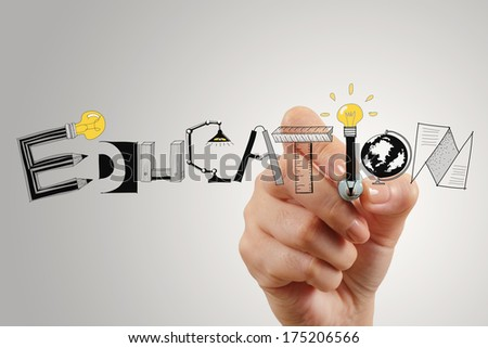 business hand drawing graphic design EDUCATION  word  as concept - stock photo