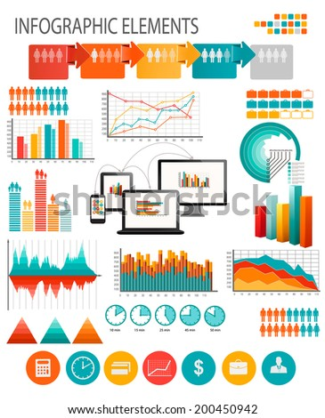 . Business infographics template. Raster version. - stock photo
