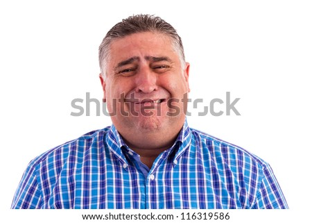 Business man feeling fear and crying isolated on white- Expressions - stock photo