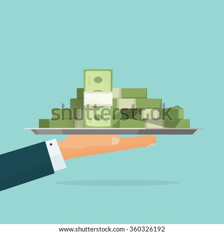 Business man hand holding tray with big pile of money symbol illustration, bank loan cash giving, credit packet, hypothec, mortgage, salary payment, modern design isolated, flat style emblem image  - stock photo