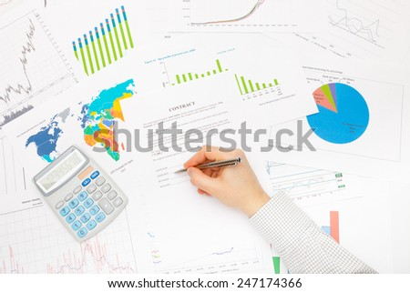 Business man ready to sign contract - stock photo