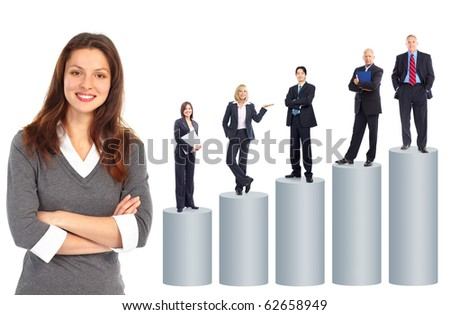 Business people team and graph. Isolated over white background - stock photo