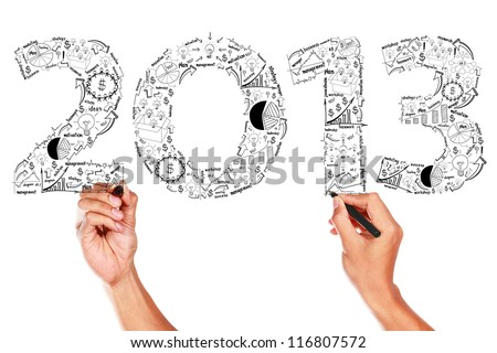 2013 business plan concept ideas, Hand drawing on whiteboard - stock photo