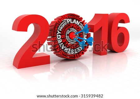 2016 business target, 3d render, white background - stock photo