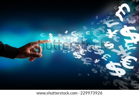 Business  touch screen money sign - stock photo