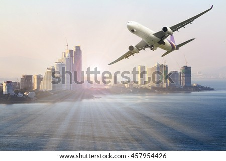 Business Travel , freight cargo plane concept of import-export commercial logistic ,shipping business industry