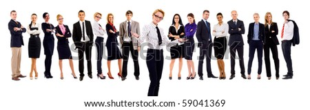 business woman and a large group of young smiling business people. Over white background