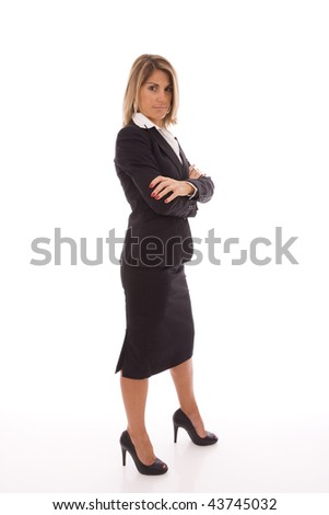 business woman isolated on white with a powerful pose - stock photo