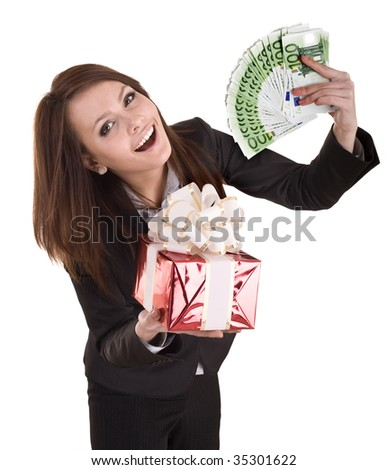 Business woman with money,red christmas box. Isolated.