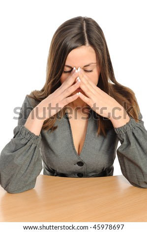 Business woman with strong headache isolated on white backgrou - stock photo