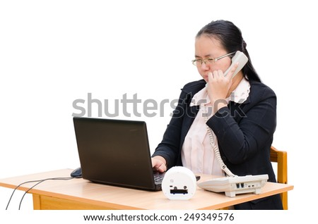 business woman working worried sitting in front of  computer  - stock photo