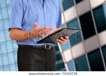 businessman make a decision  in office - stock photo