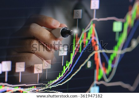 businessman pen write stock chart, analysis business profit growth, business wealth concept - stock photo