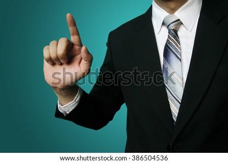 businessman point finger - stock photo