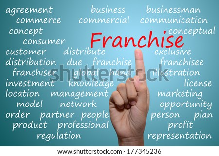 businessman pointing franchise concept