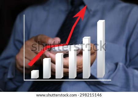 businessman pointing write graph chart ,businessman hand pushing a business graph on a touch screen interface, business news background