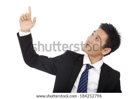 Businessman smiling with raised finger