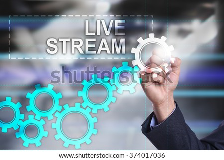 businessman using modern computer and drawing Business, technology and internet concept. Live Stream.