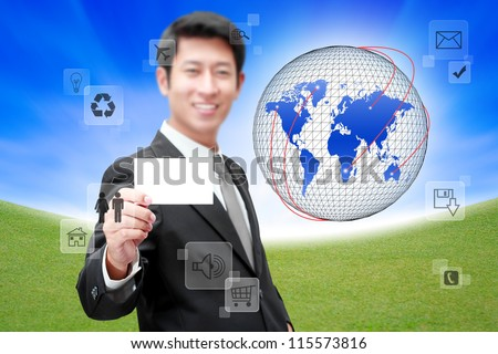 Businessman with Social network and communication in the global computer networks