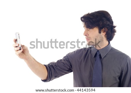 businessman working with pda or smartphone