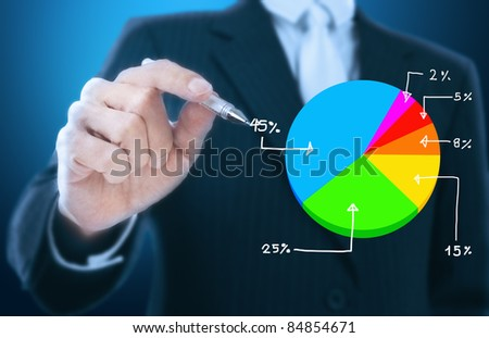 businessman writing graph of stock market