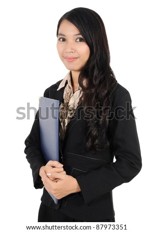 businesswoman carrying a folder isolated on white background - stock photo