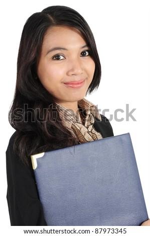 businesswoman holding a folder isolated on white background - stock photo