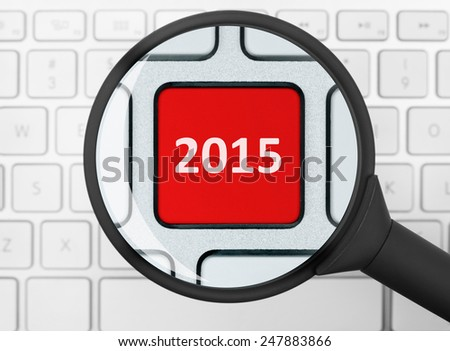 2015 button under the magnifying glass - stock photo
