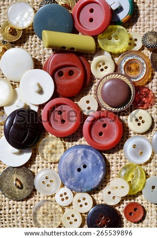 Buttons of different colors (vertical photo) - stock photo